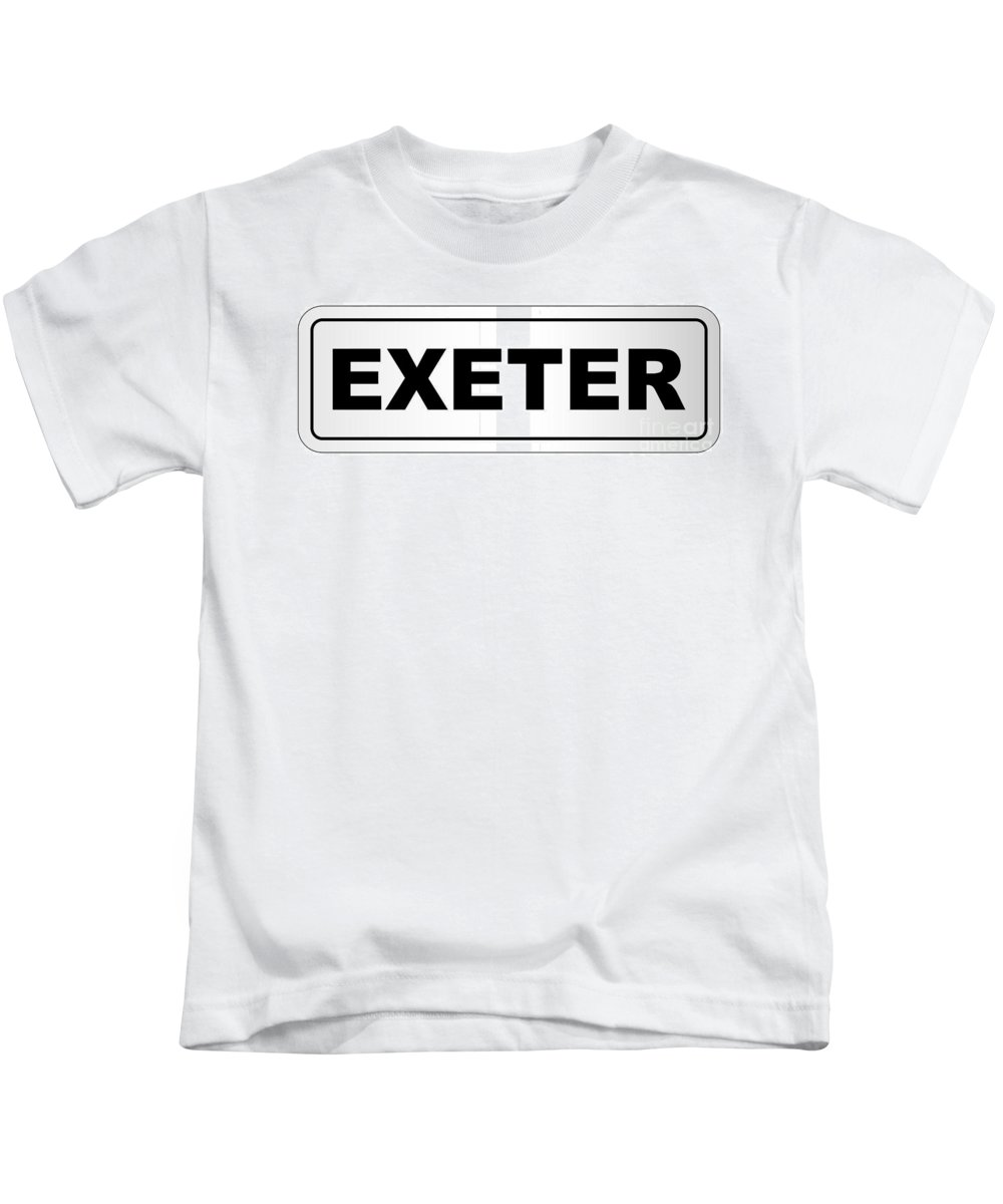 Exeter Kids T-Shirt featuring the digital art Exeter City Nameplate by Bigalbaloo Stock