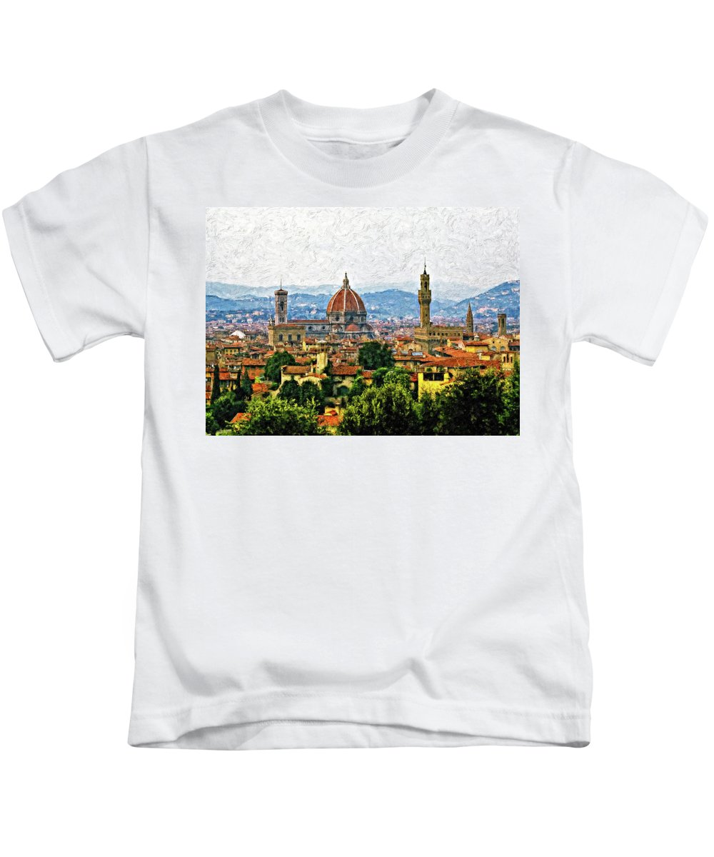 Florence Kids T-Shirt featuring the photograph Florence Impasto by Steve Harrington