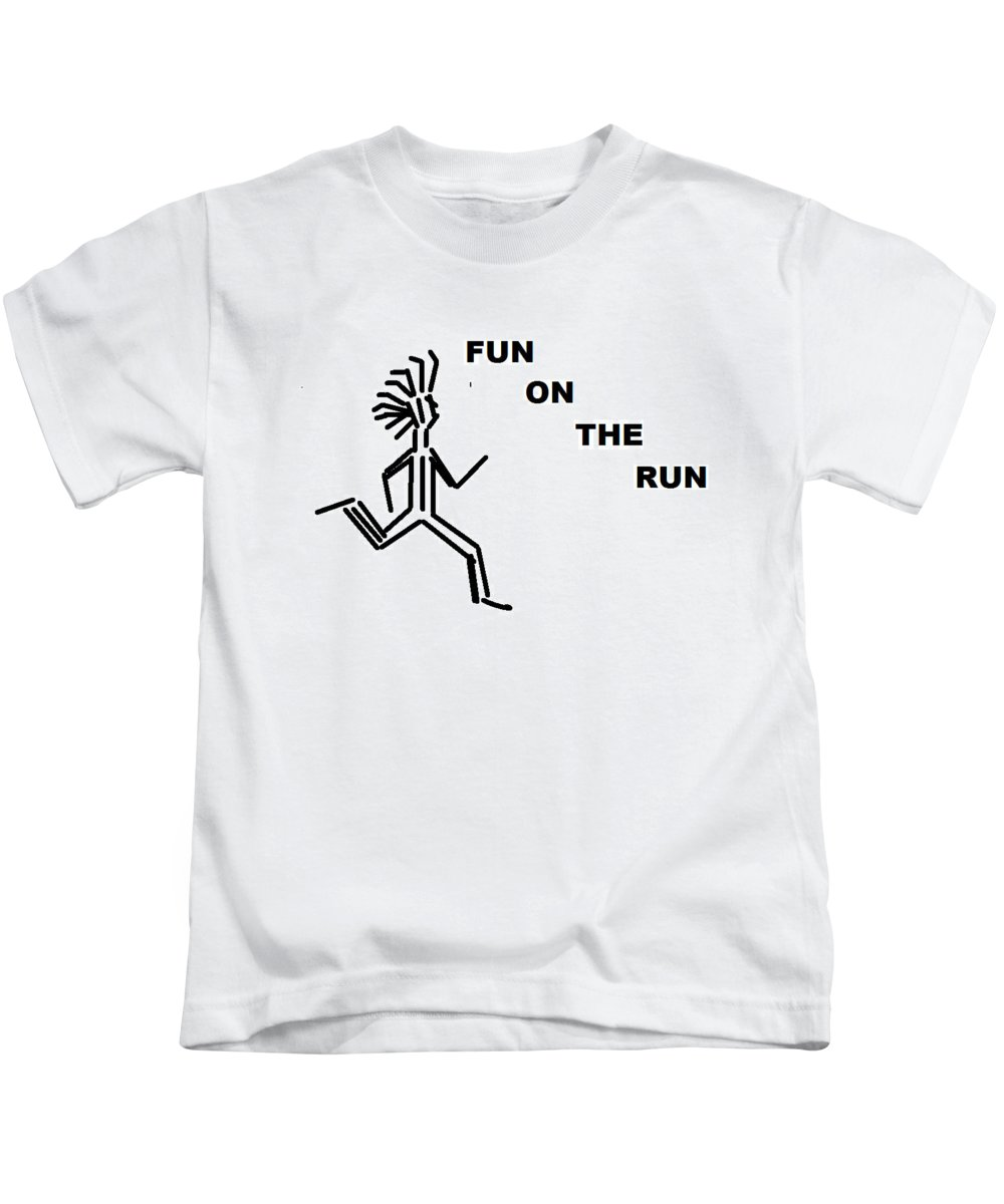 Drawingart Kids T-Shirt featuring the drawing Fun on the RuN by Andrew Johnson