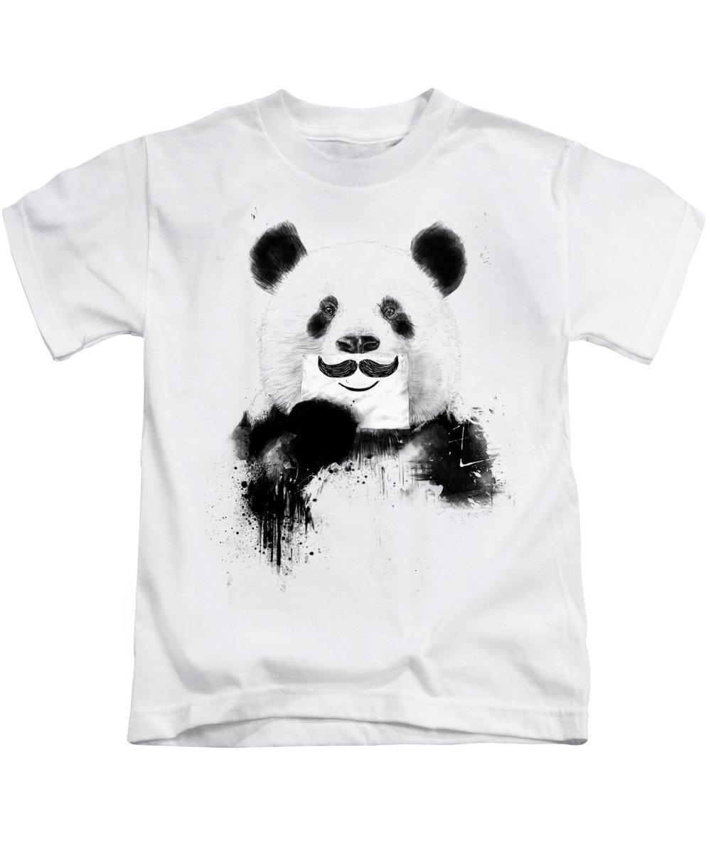 Panda Kids T-Shirt featuring the mixed media Funny panda by Balazs Solti