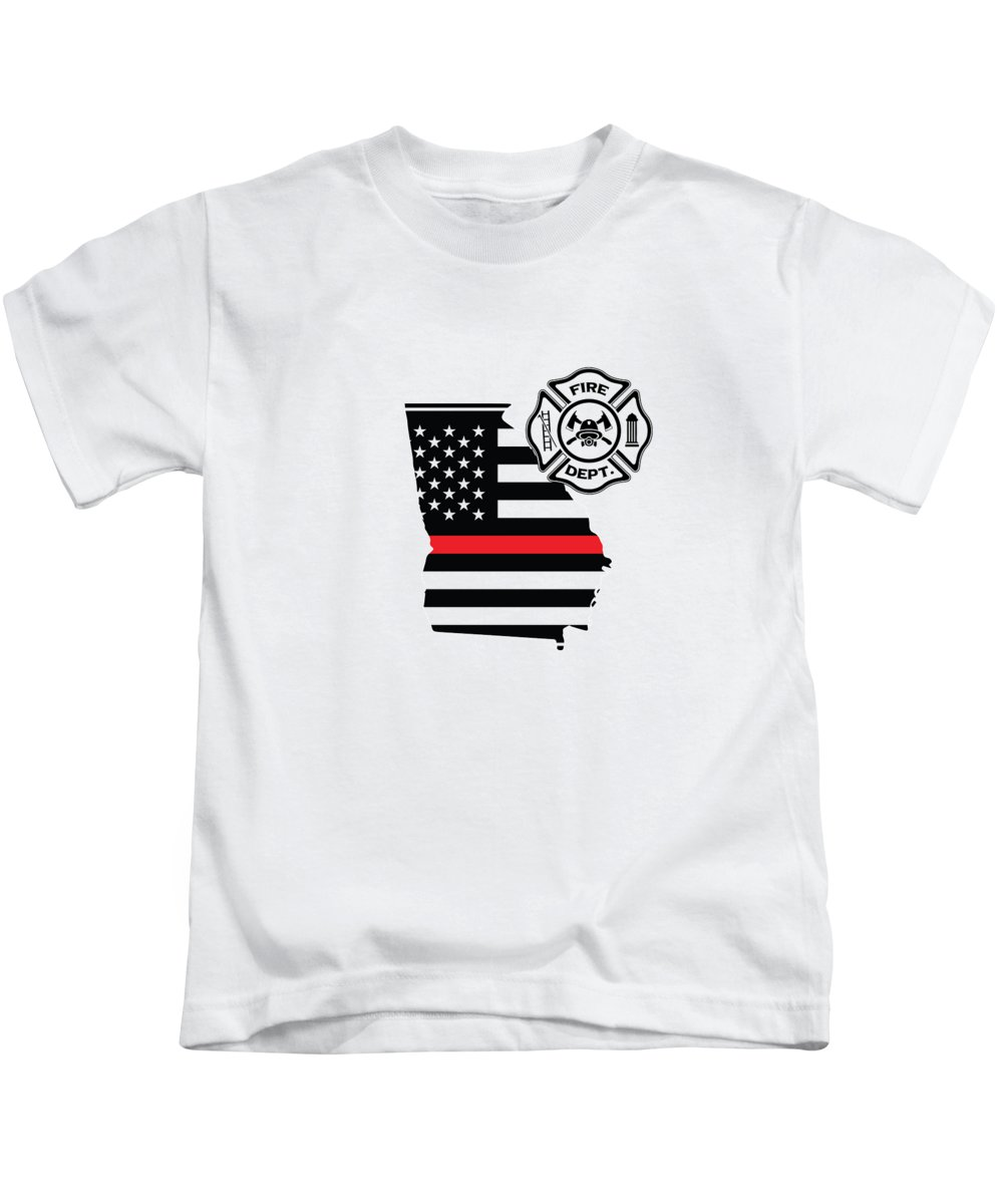 Firefighter-appreciation Kids T-Shirt featuring the digital art Georgia Firefighter Shield Thin Red Line Flag by The French Seller