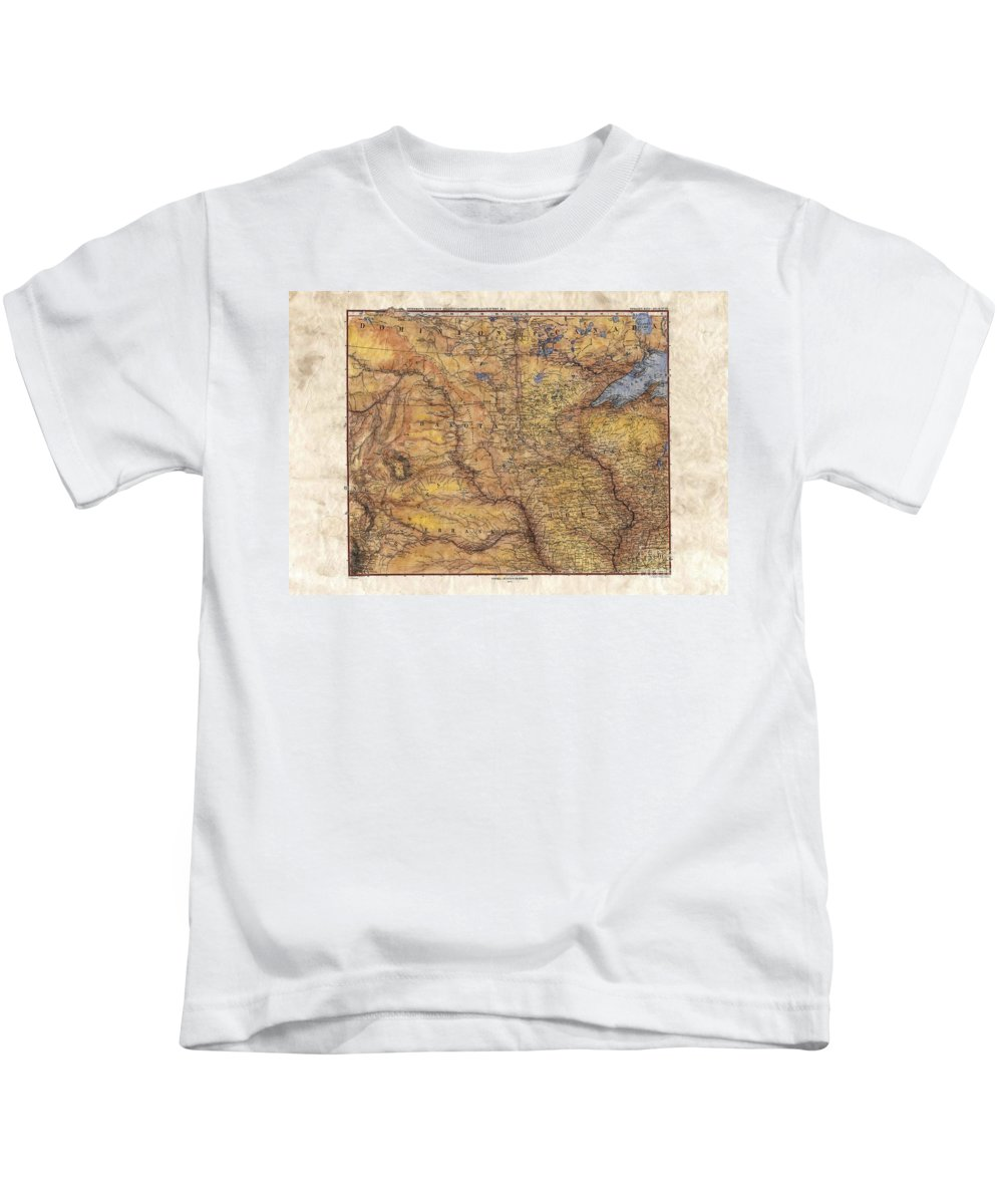Historical Map Kids T-Shirt featuring the painting Historical Map Hand Painted Lake Superior North Dakota Minnesota by Lisa Middleton