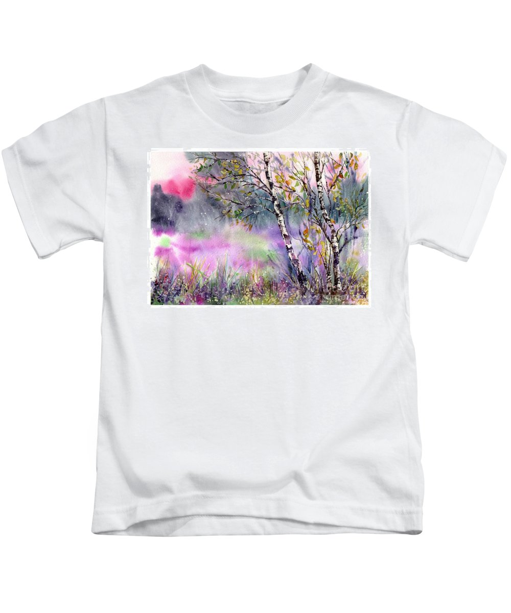 Watercolor Kids T-Shirt featuring the painting Idyllic Meadow by Suzann Sines