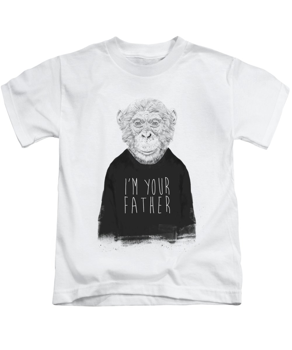 Monkey Kids T-Shirt featuring the mixed media I'm your father by Balazs Solti