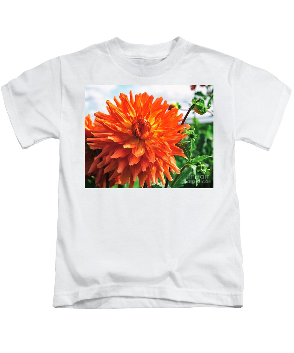 Annual Kids T-Shirt featuring the photograph In The Dahlia Garden 1 by Joe Geraci
