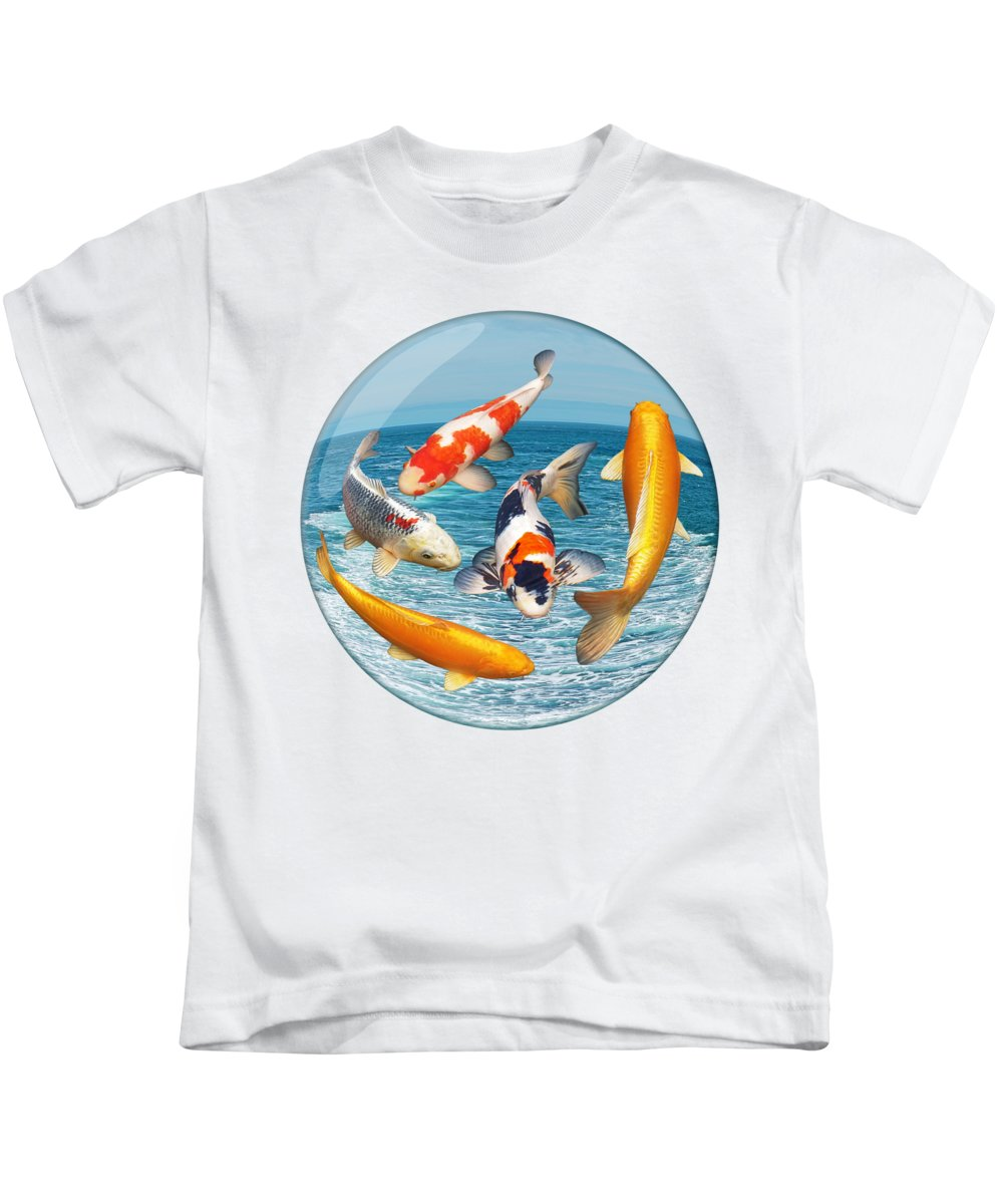 Koi Kids T-Shirt featuring the photograph Lost In A Daydream - Fish Out Of Water by Gill Billington
