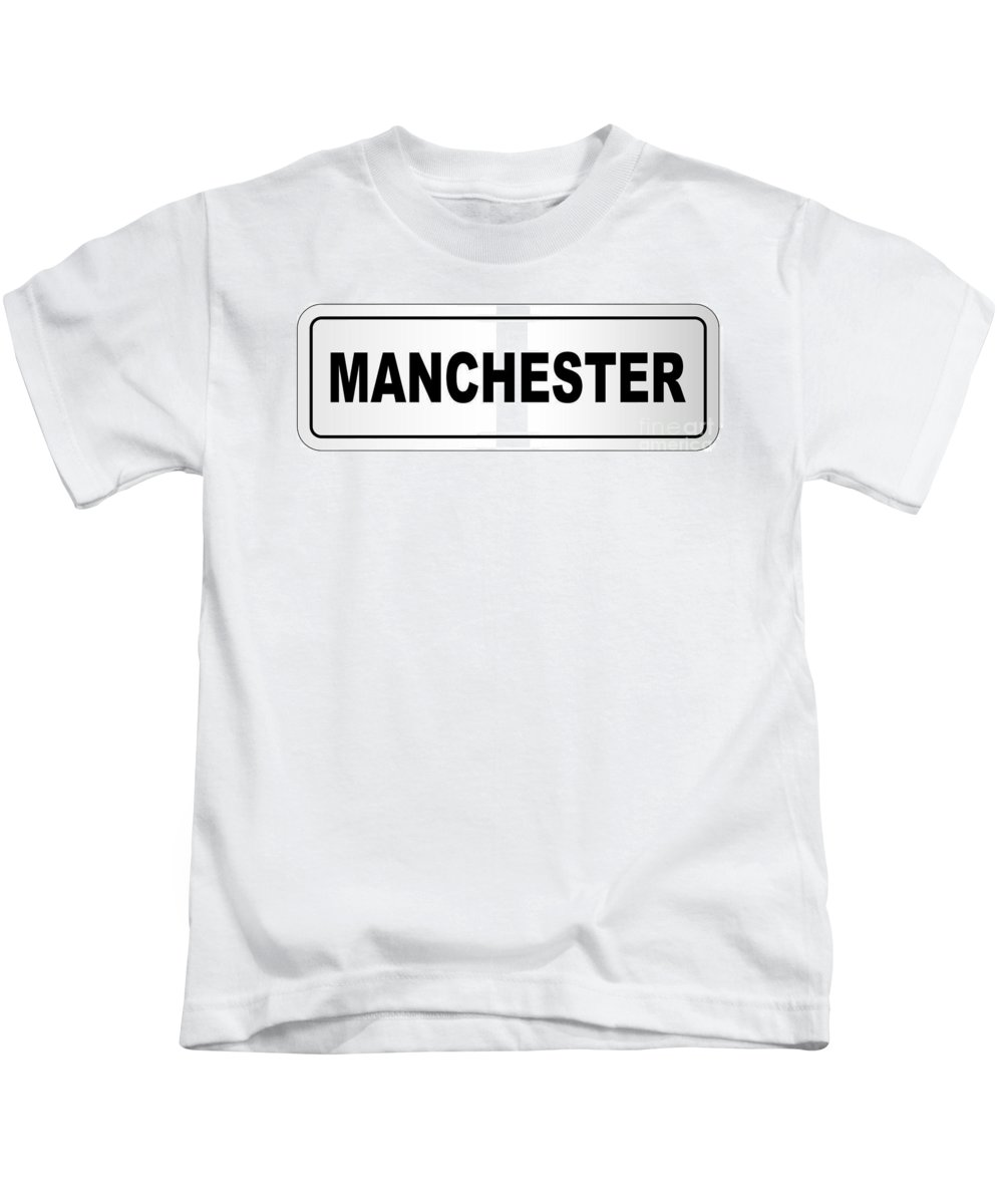 Manchester Kids T-Shirt featuring the digital art Manchester City Nameplate by Bigalbaloo Stock