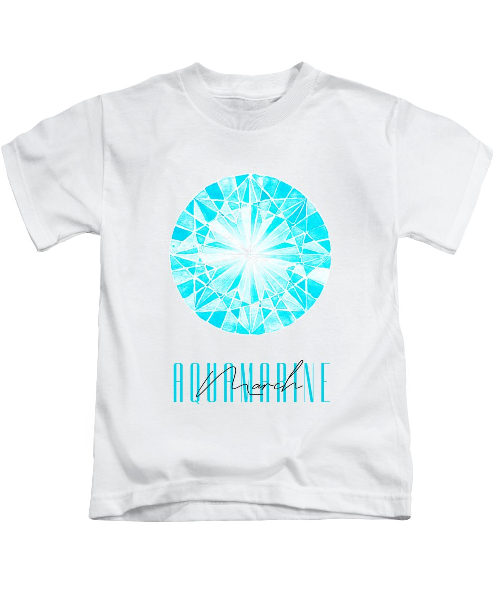 Amanda Lakey Kids T-Shirt featuring the mixed media March Birthstone - Aquamarine by Amanda Lakey