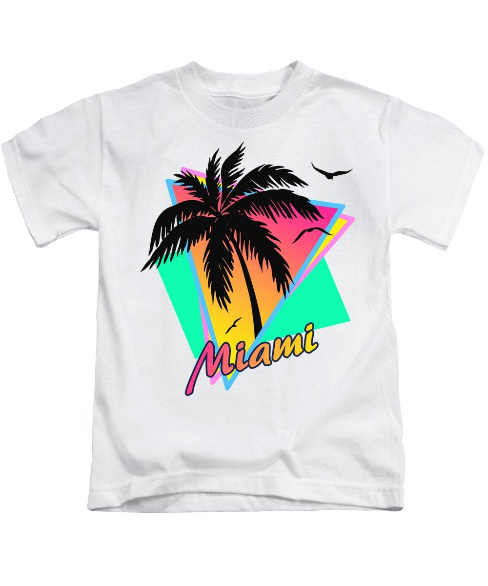 Miami Kids T-Shirt featuring the digital art Miami by Filip Hellman