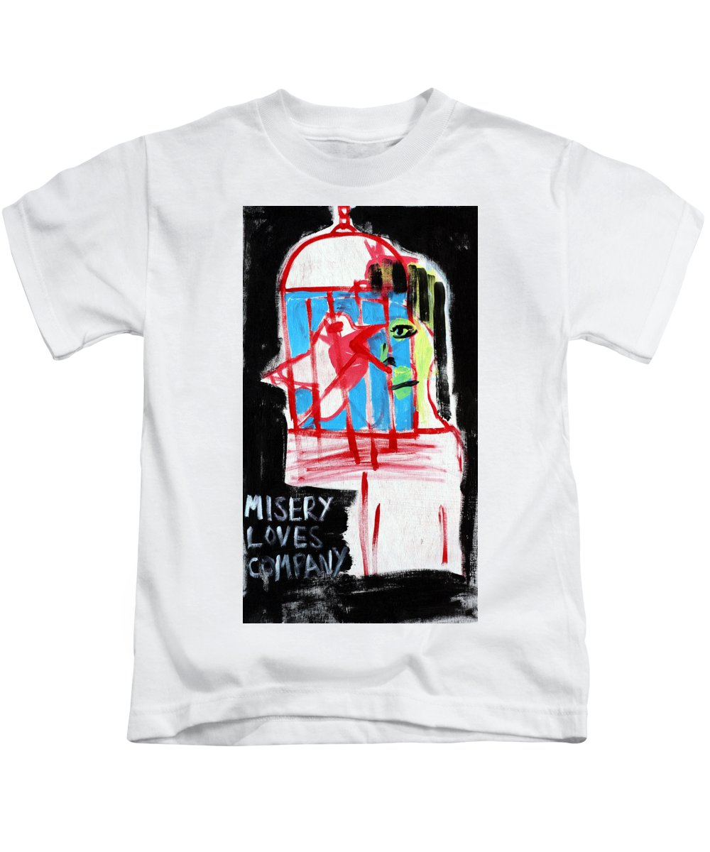 Misery Loves Company Kids T-Shirt featuring the painting Misery Loves Company by Artist Dot
