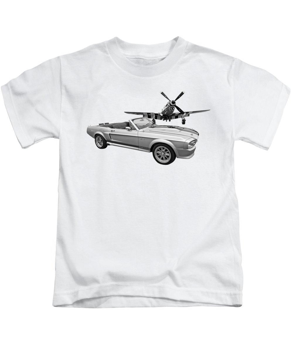 P-51mustang Kids T-Shirt featuring the photograph P51 Meets Eleanor In Black And White by Gill Billington