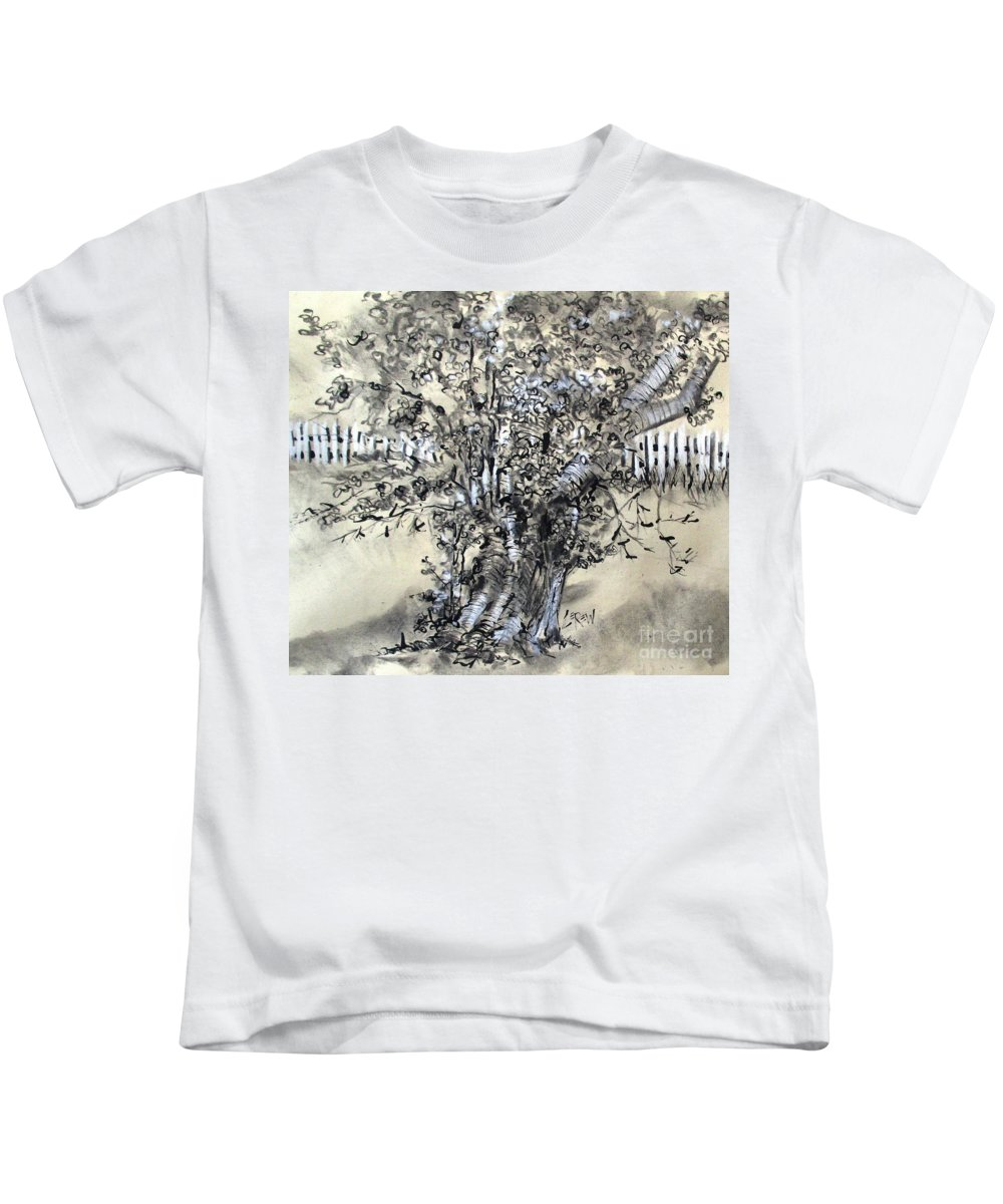 Pear Tree Kids T-Shirt featuring the drawing Pear Tree And Pickets by Larry Lerew