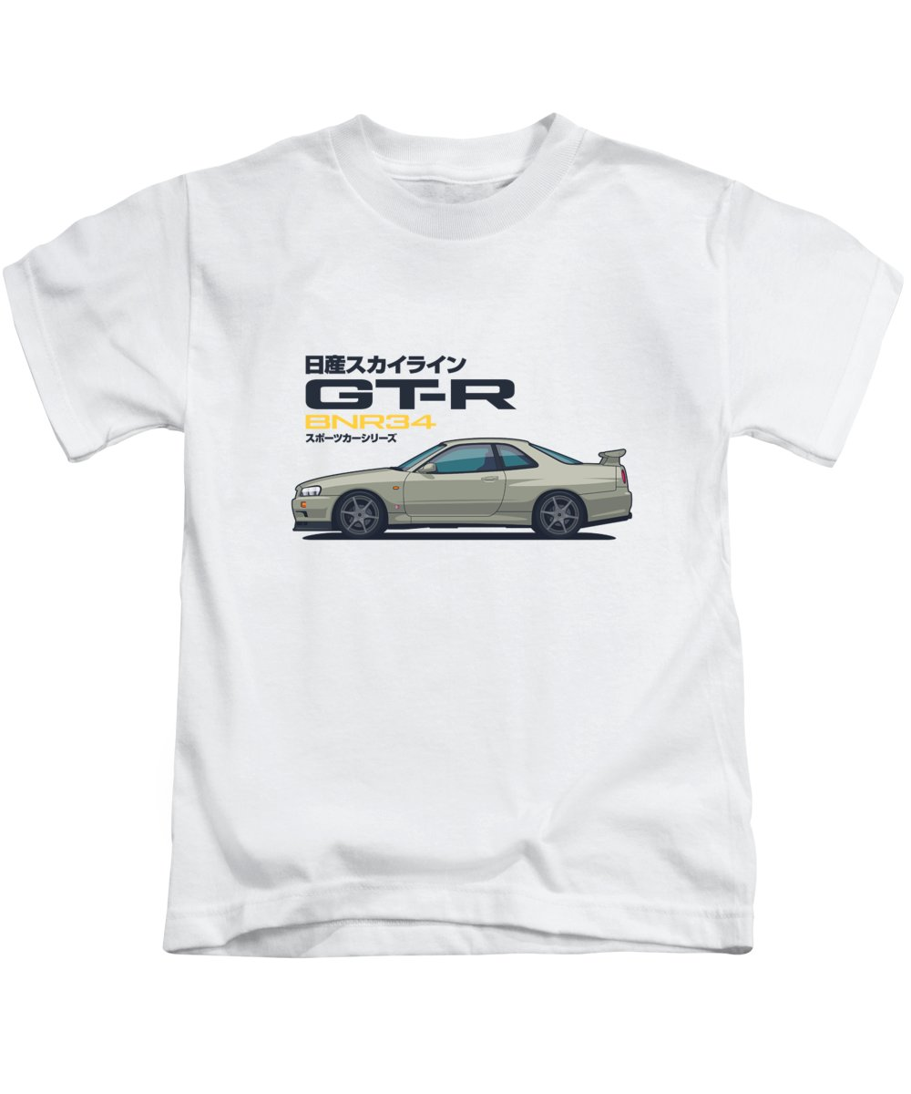 Gt-r Kids T-Shirt featuring the digital art R34 Gt-r - Landscape Jade by Organic Synthesis