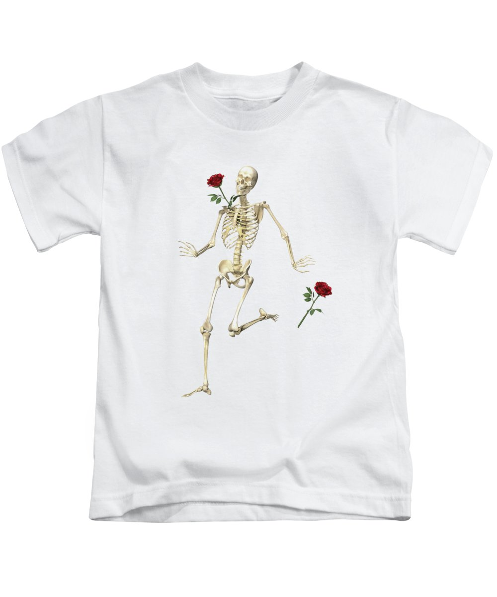 Human Kids T-Shirt featuring the digital art Rambling Rose Running Skeleton by Betsy Knapp