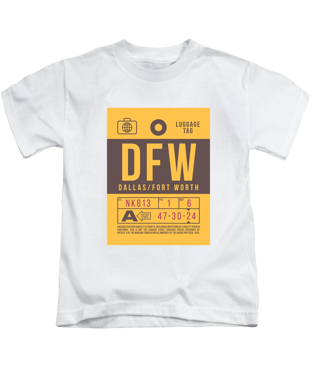 Airline Kids T-Shirt featuring the digital art Retro Airline Luggage Tag 2.0 - Dfw Dallas Fort Worth United States by Ivan Krpan
