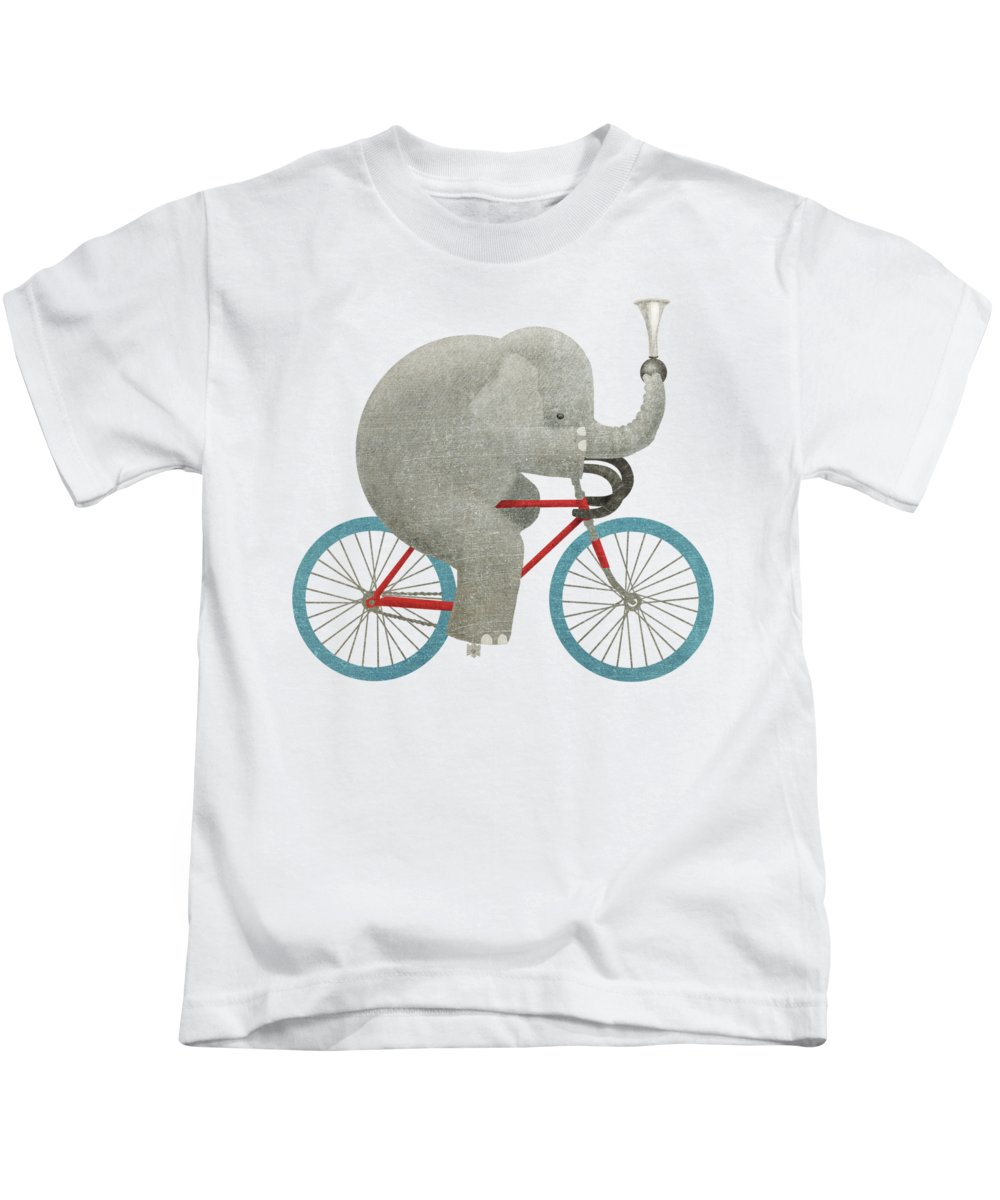 Elephant Kids T-Shirt featuring the drawing Ride by Eric Fan