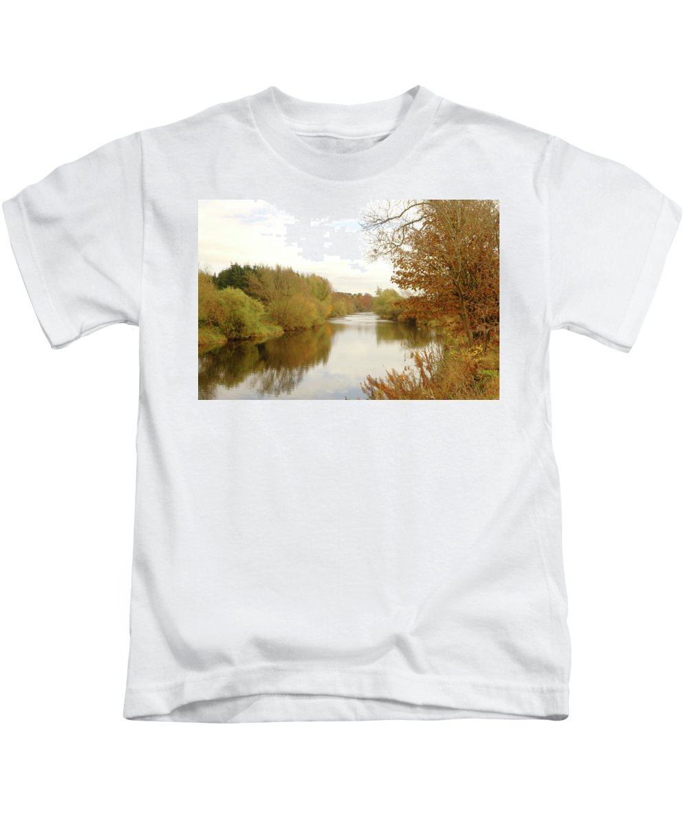 River Kids T-Shirt featuring the photograph river Teviot at dusk by Victor Lord Denovan