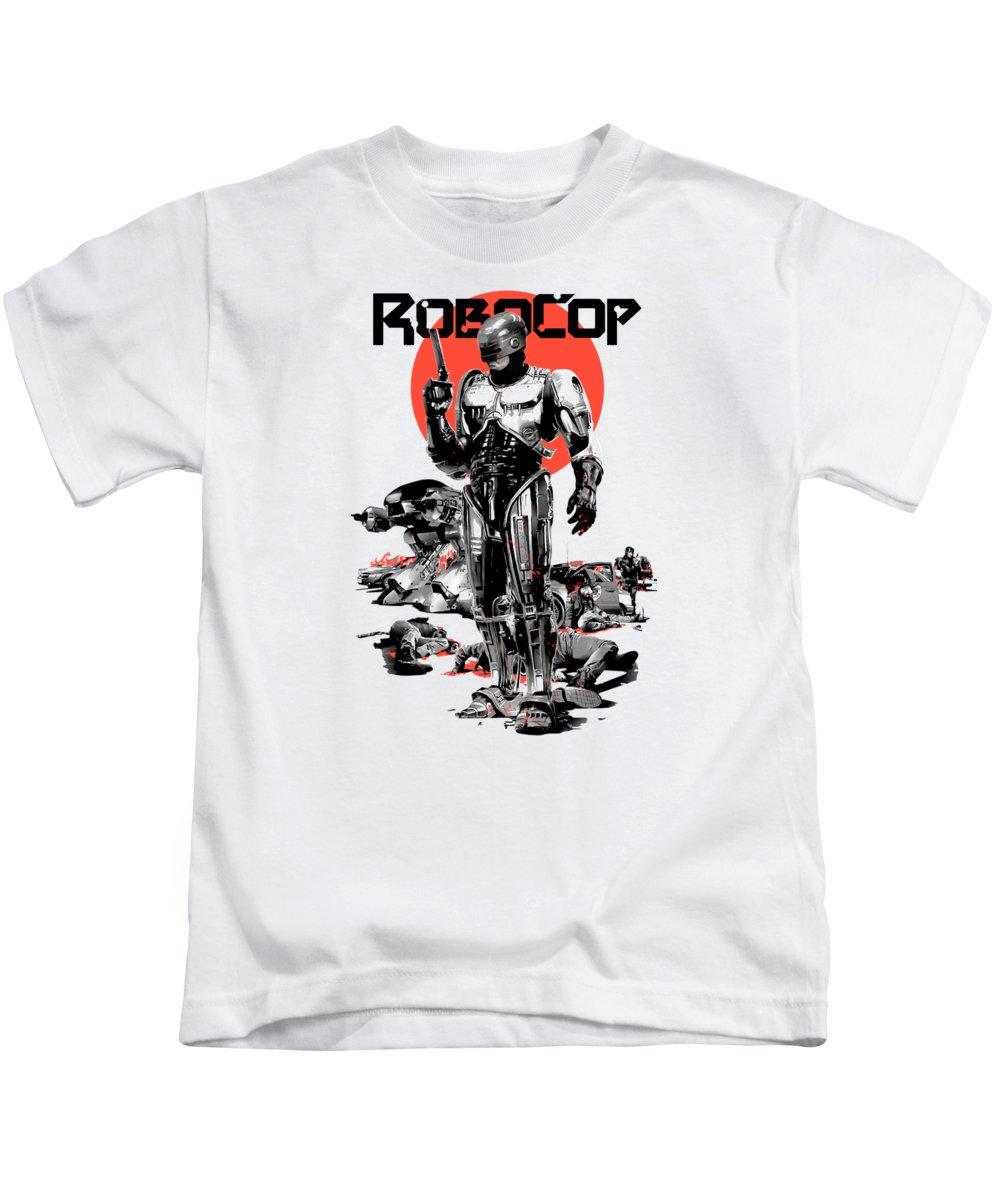Robocop Kids T-Shirt featuring the digital art Robocop by Mas Faust