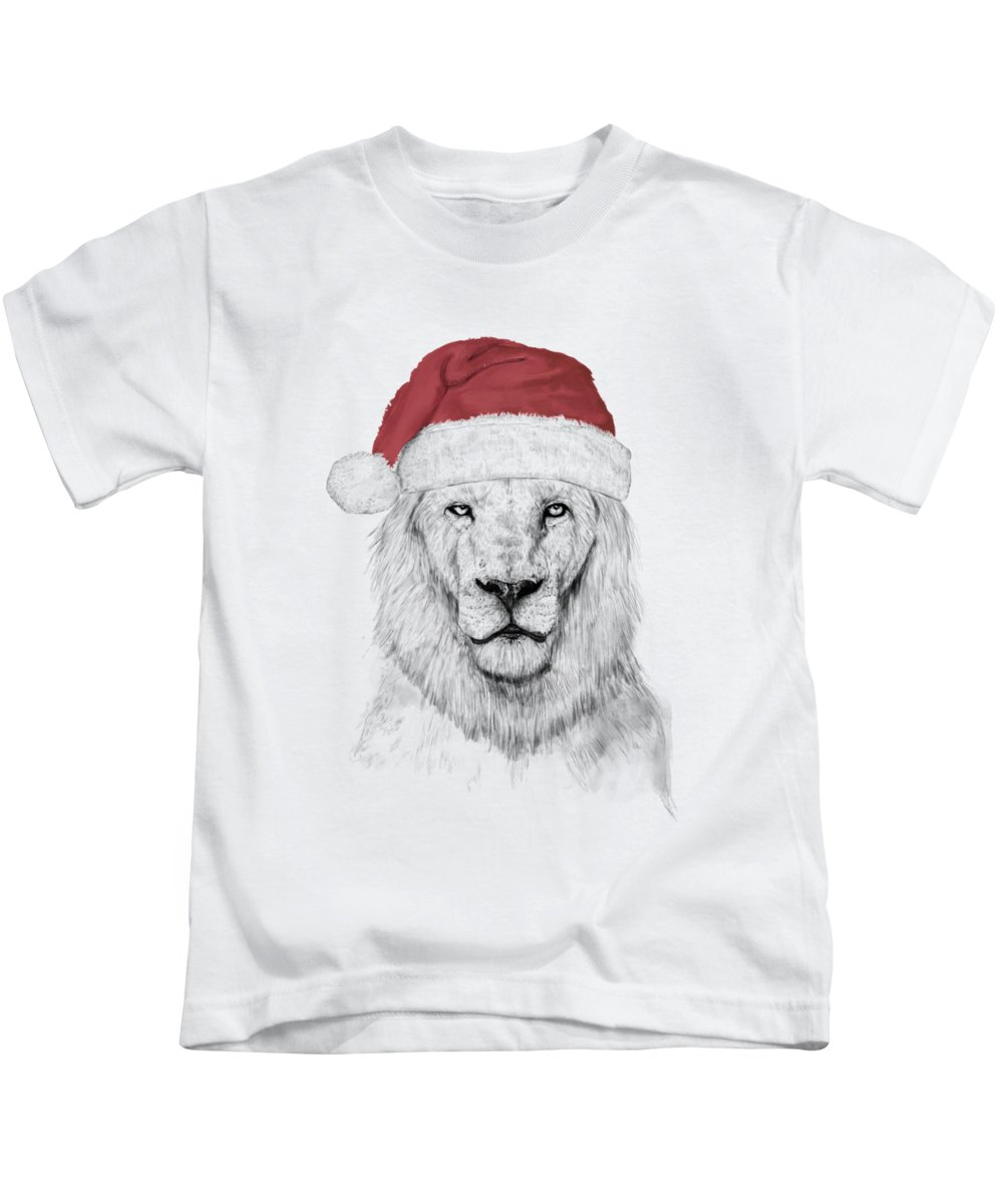 Lion Kids T-Shirt featuring the mixed media Santa lion by Balazs Solti