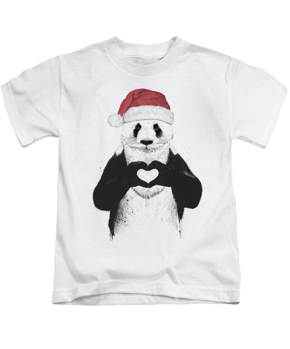 Panda Kids T-Shirt featuring the mixed media Santa panda by Balazs Solti