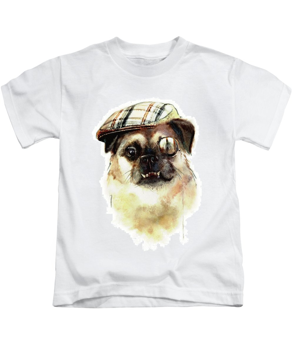 Dog Kids T-Shirt featuring the painting Sir Monocle Floof Du Underbite by Cassandra Takeshi