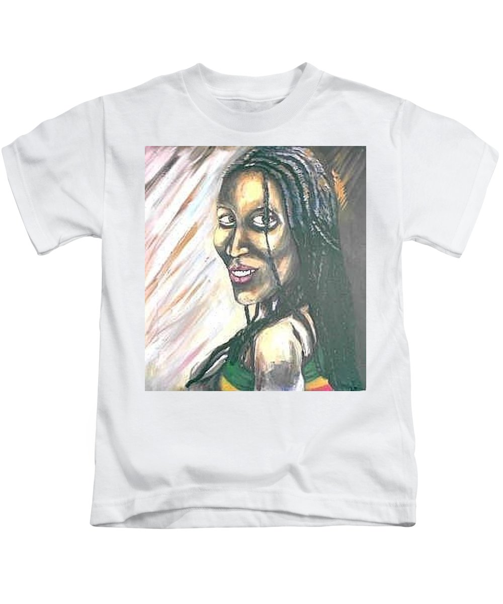 Kids T-Shirt featuring the painting Sister by Andrew Johnson