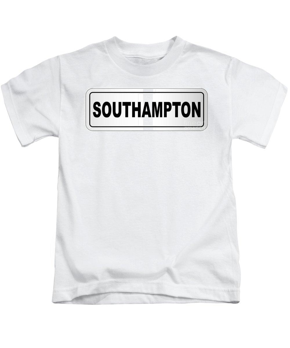 Southampton Kids T-Shirt featuring the digital art Southampton City Nameplate by Bigalbaloo Stock