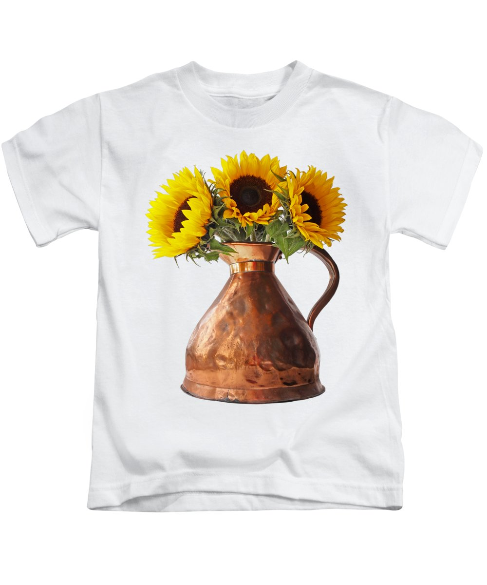 Sunflower Kids T-Shirt featuring the photograph Sunflowers In Antique Copper Pitcher by Gill Billington