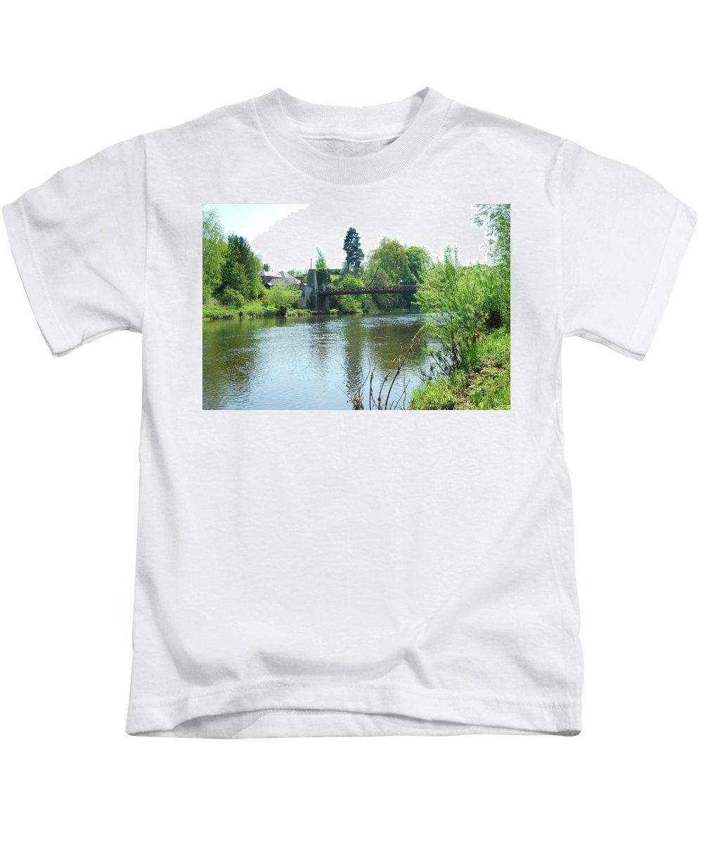 Suspension Bridge Kids T-Shirt featuring the photograph suspension bridge on river Teviot near Heiton by Victor Lord Denovan