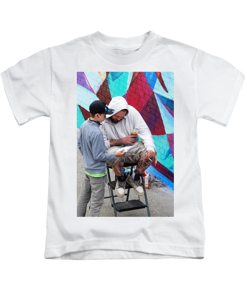 People Kids T-Shirt featuring the photograph The Male Connection by Ee Photography