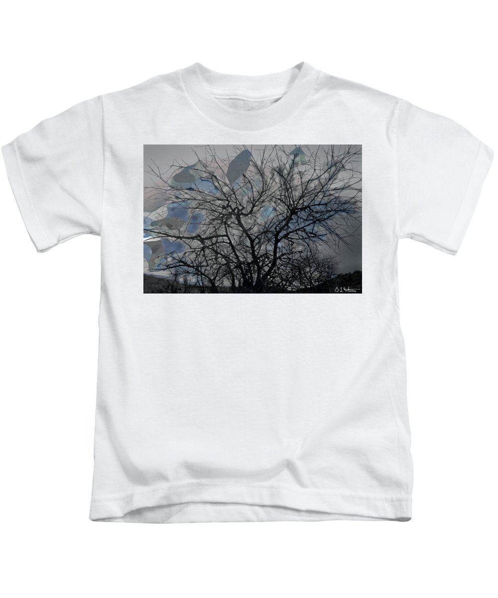 Tree Kids T-Shirt featuring the digital art Wasteway Willow 04 by Bruce Whitaker