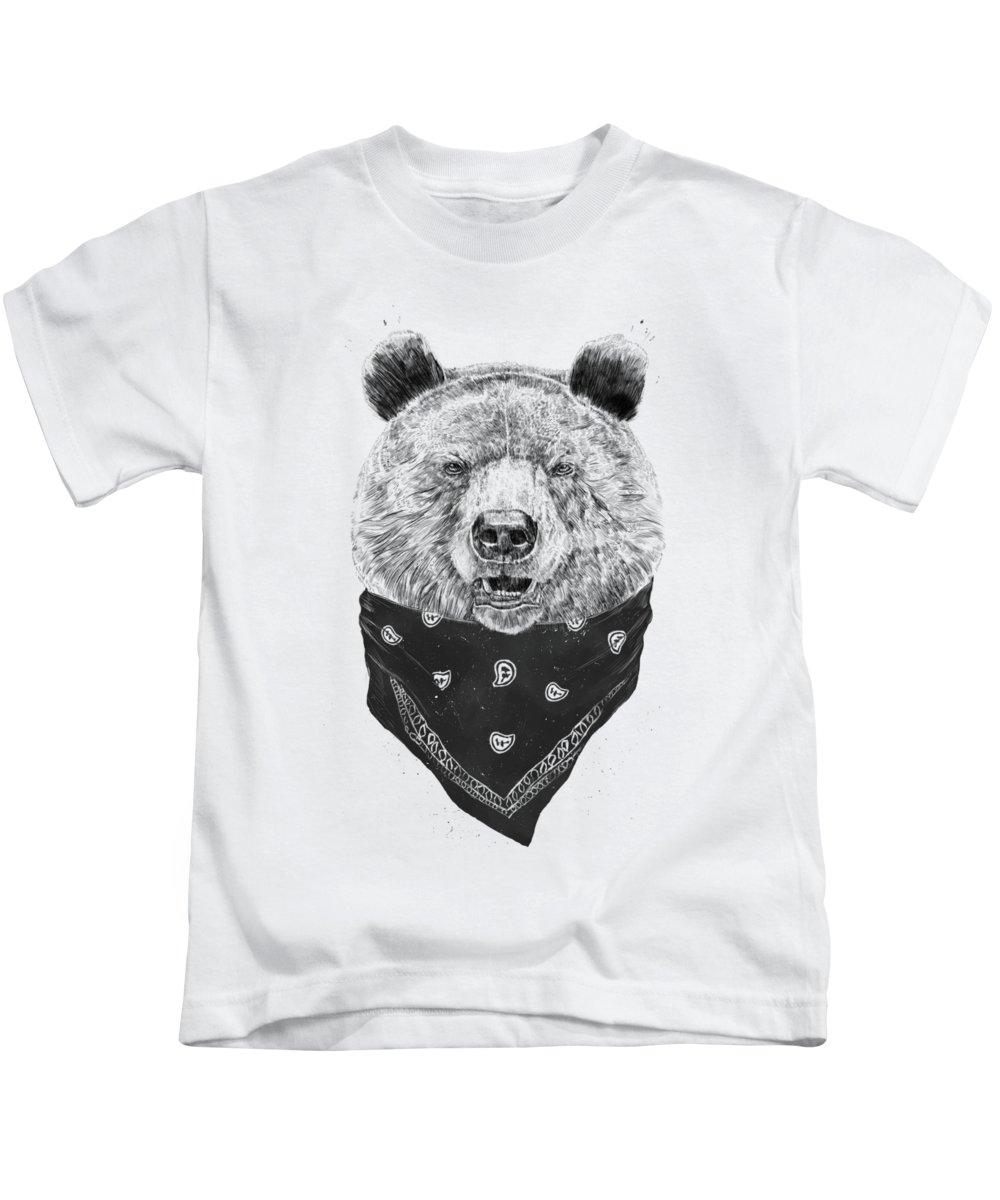 Bear Kids T-Shirt featuring the mixed media Wild bear by Balazs Solti