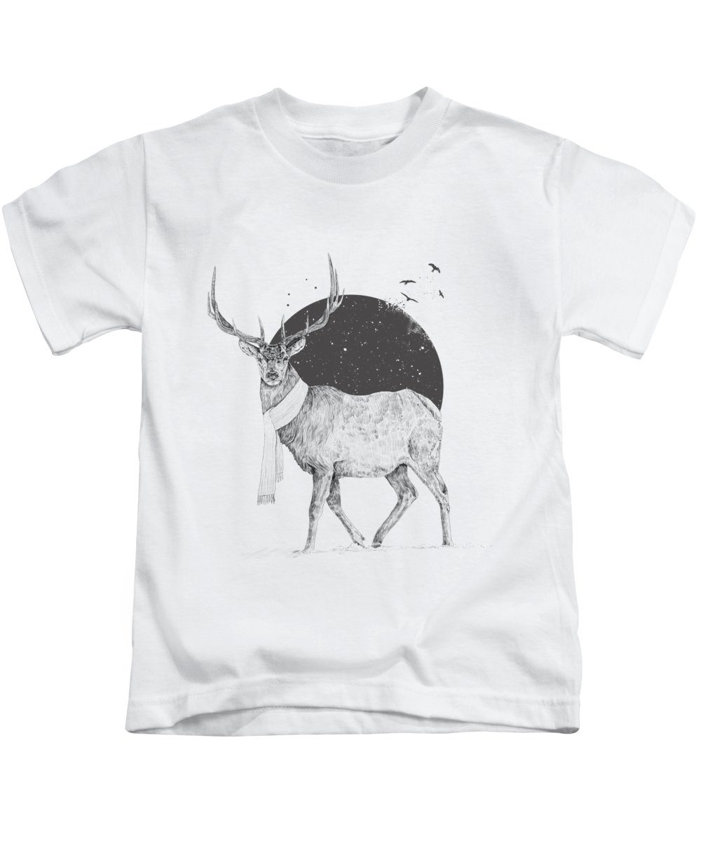 Deer Kids T-Shirt featuring the drawing Winter Is All Around by Balazs Solti