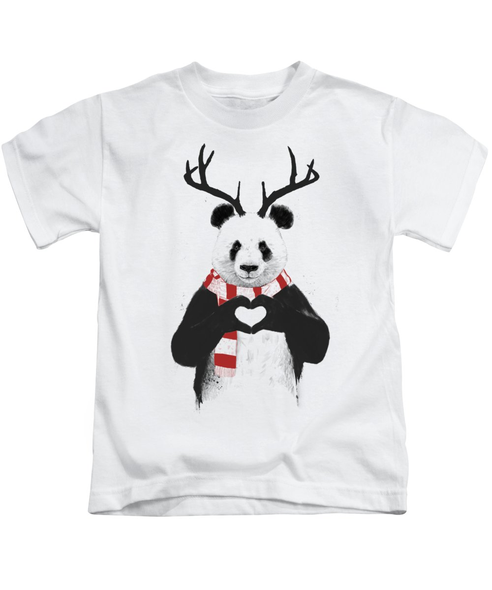 Panda Kids T-Shirt featuring the drawing Xmas panda by Balazs Solti
