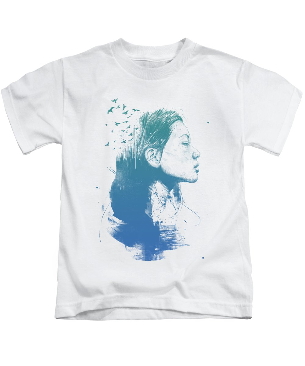 Girl Kids T-Shirt featuring the drawing Open your mind by Balazs Solti