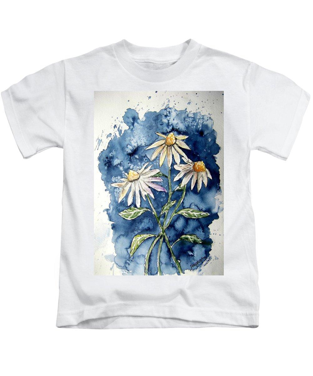 Daisy Kids T-Shirt featuring the painting 3 Daisies Flower Art by Derek Mccrea
