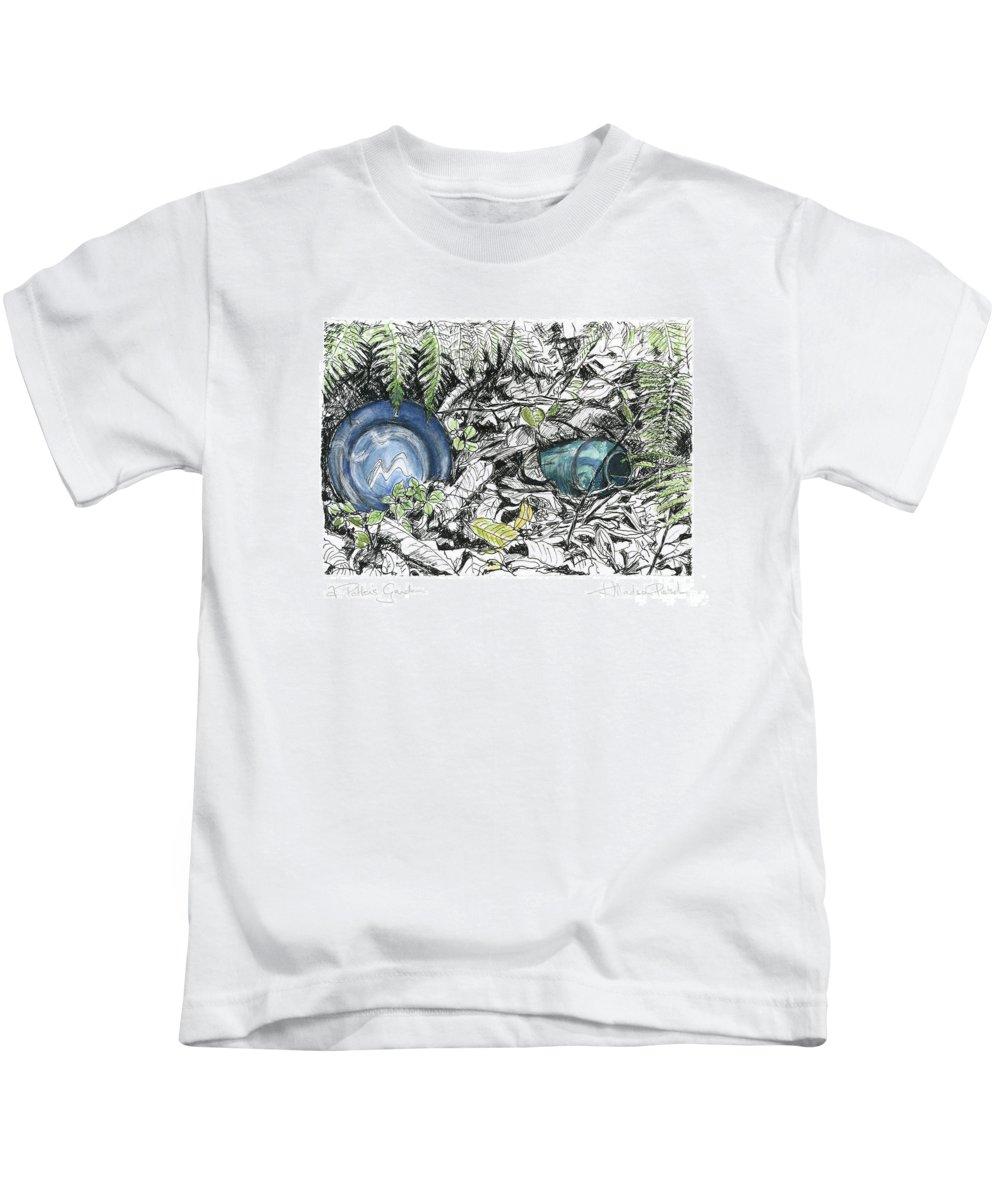 Fine Art Kids T-Shirt featuring the drawing A Potters Garden - Section 02 by Kerryn Madsen- Pietsch
