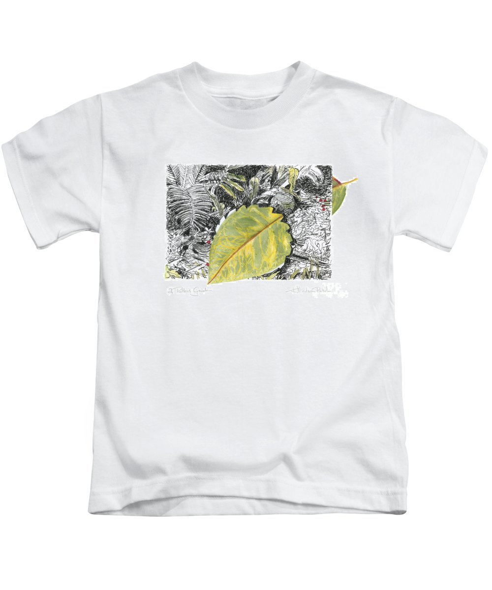 Fine Art Kids T-Shirt featuring the drawing A Potters Garden - Section 03 by Kerryn Madsen- Pietsch