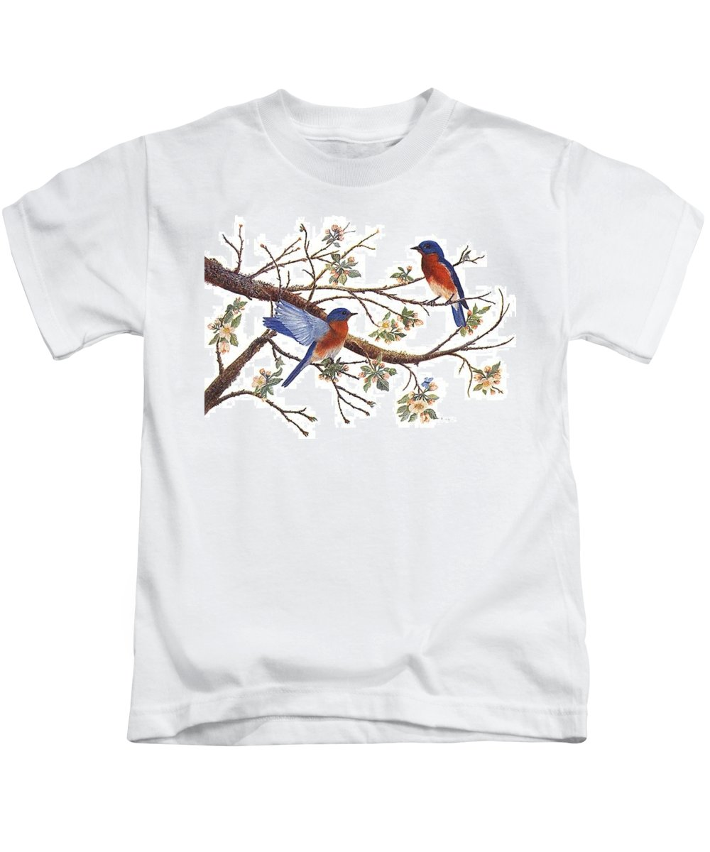 Bluebirds Kids T-Shirt featuring the painting Bluebirds And Apple Blossoms by Ben Kiger
