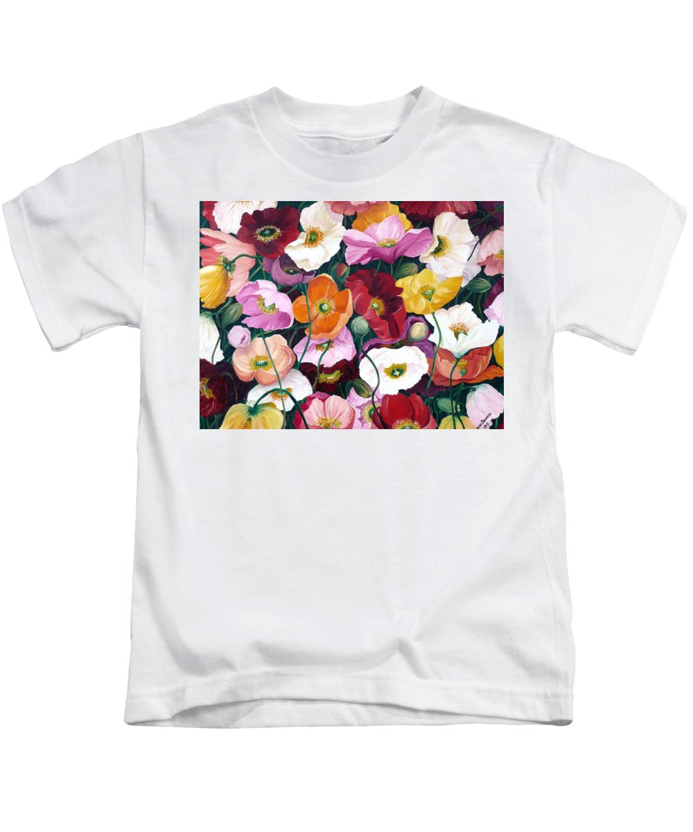 Flower Painting Floral Painting Poppy Painting Icelandic Poppies Painting Botanical Painting Original Oil Paintings Greeting Card Painting Kids T-Shirt featuring the painting Cascade Of Poppies by Karin Dawn Kelshall- Best