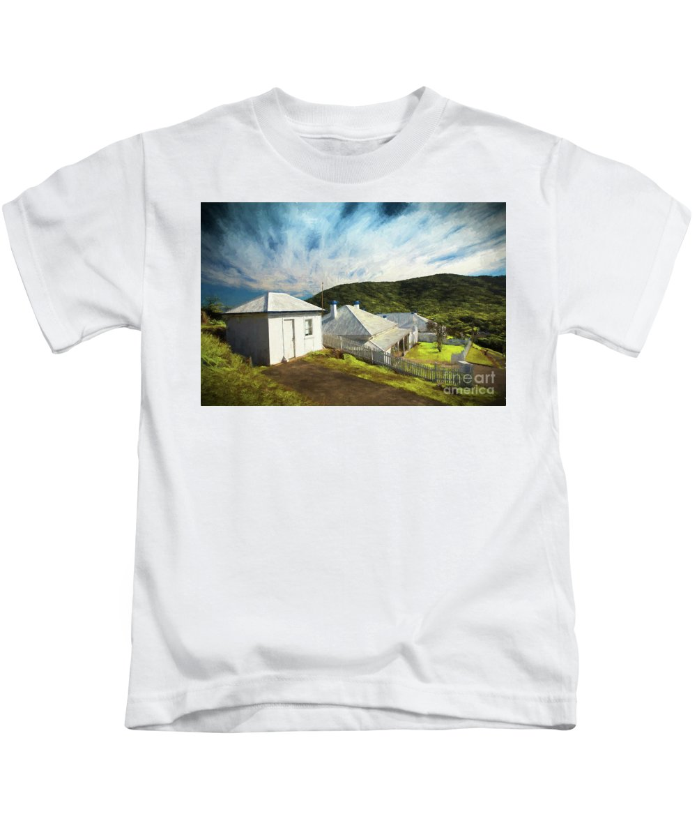 Painterly Image Kids T-Shirt featuring the photograph Cottages at Smoky Cape, Rembrandt style by Sheila Smart Fine Art Photography