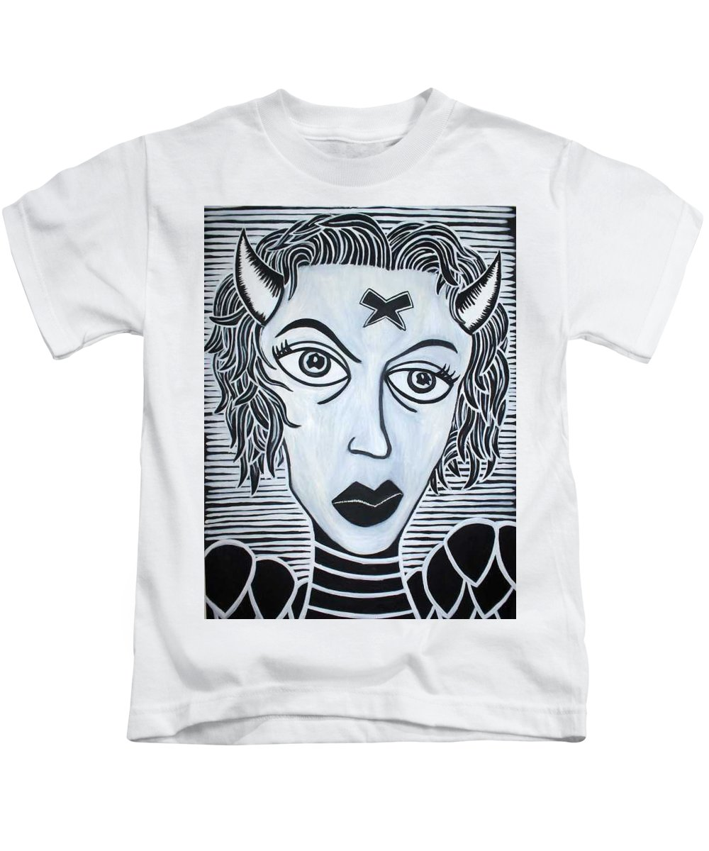 Kids T-Shirt featuring the painting Devil by Thomas Valentine