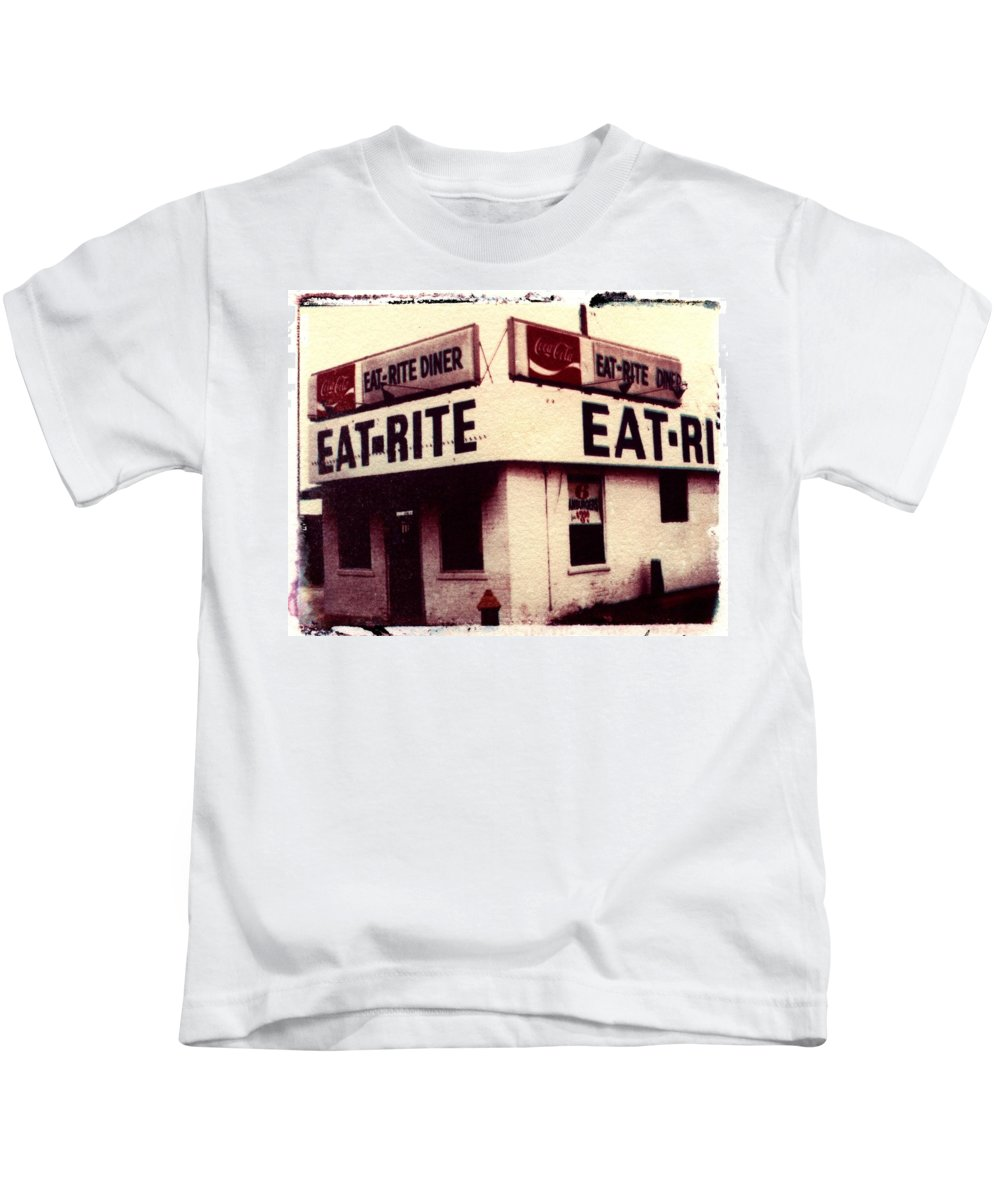Polaroid Transfer Kids T-Shirt featuring the photograph Eat Rite by Jane Linders
