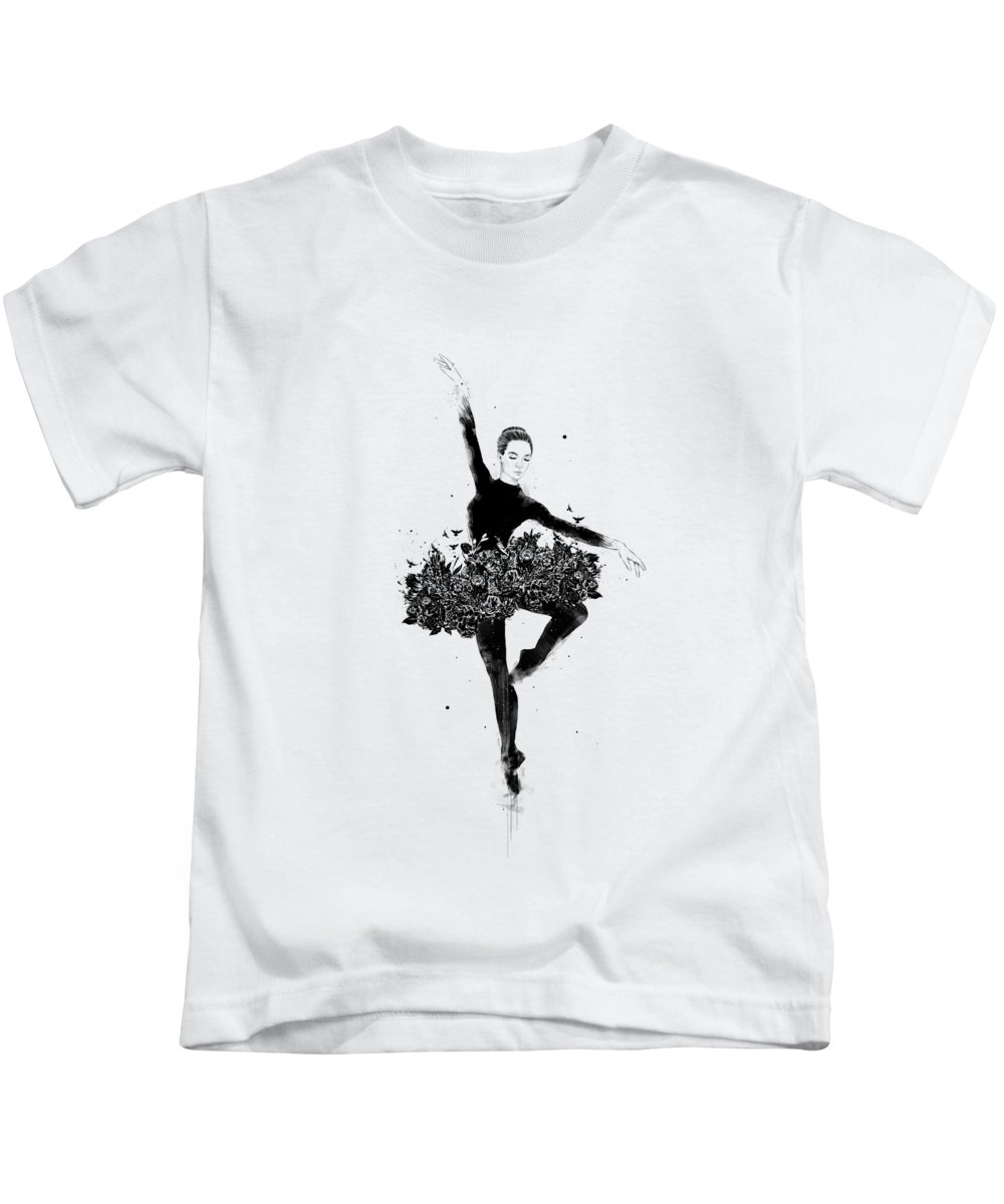 Ballet Kids T-Shirt featuring the drawing Floral dance by Balazs Solti