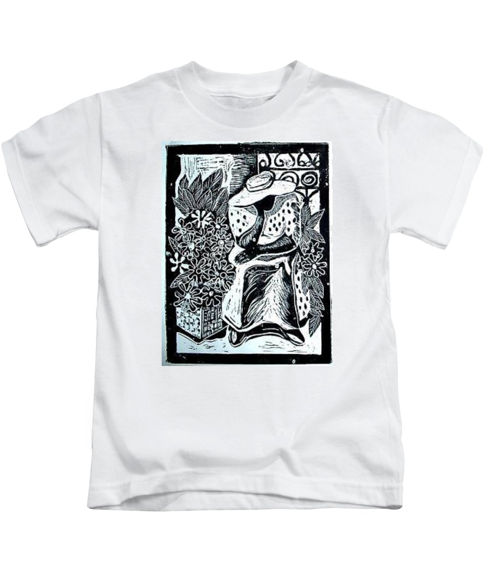 Everett Spruill Kids T-Shirt featuring the painting Flower Vendor by Everett Spruill