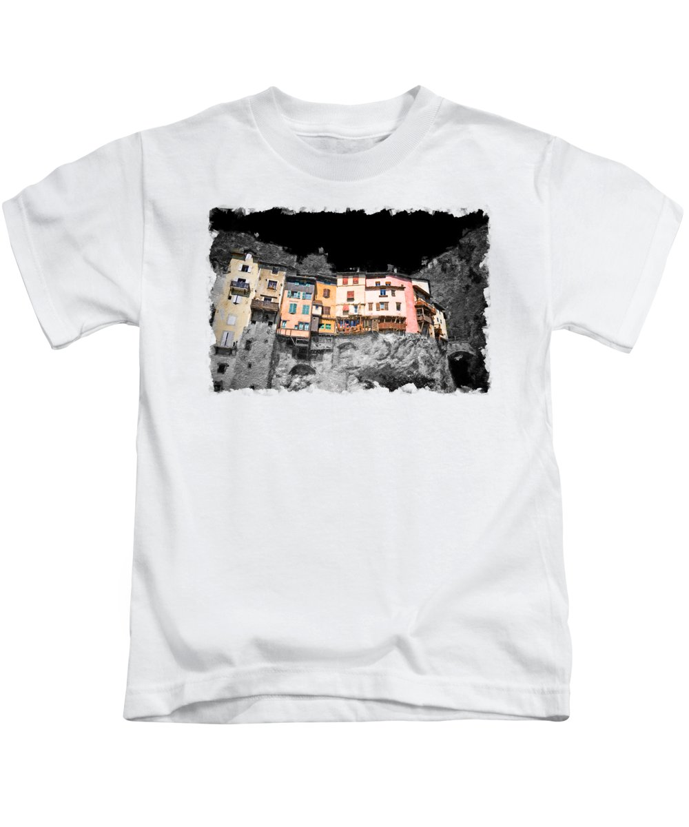 Village Kids T-Shirt featuring the painting French suspended village of Pont en Royans on cliff oil by Gregory DUBUS