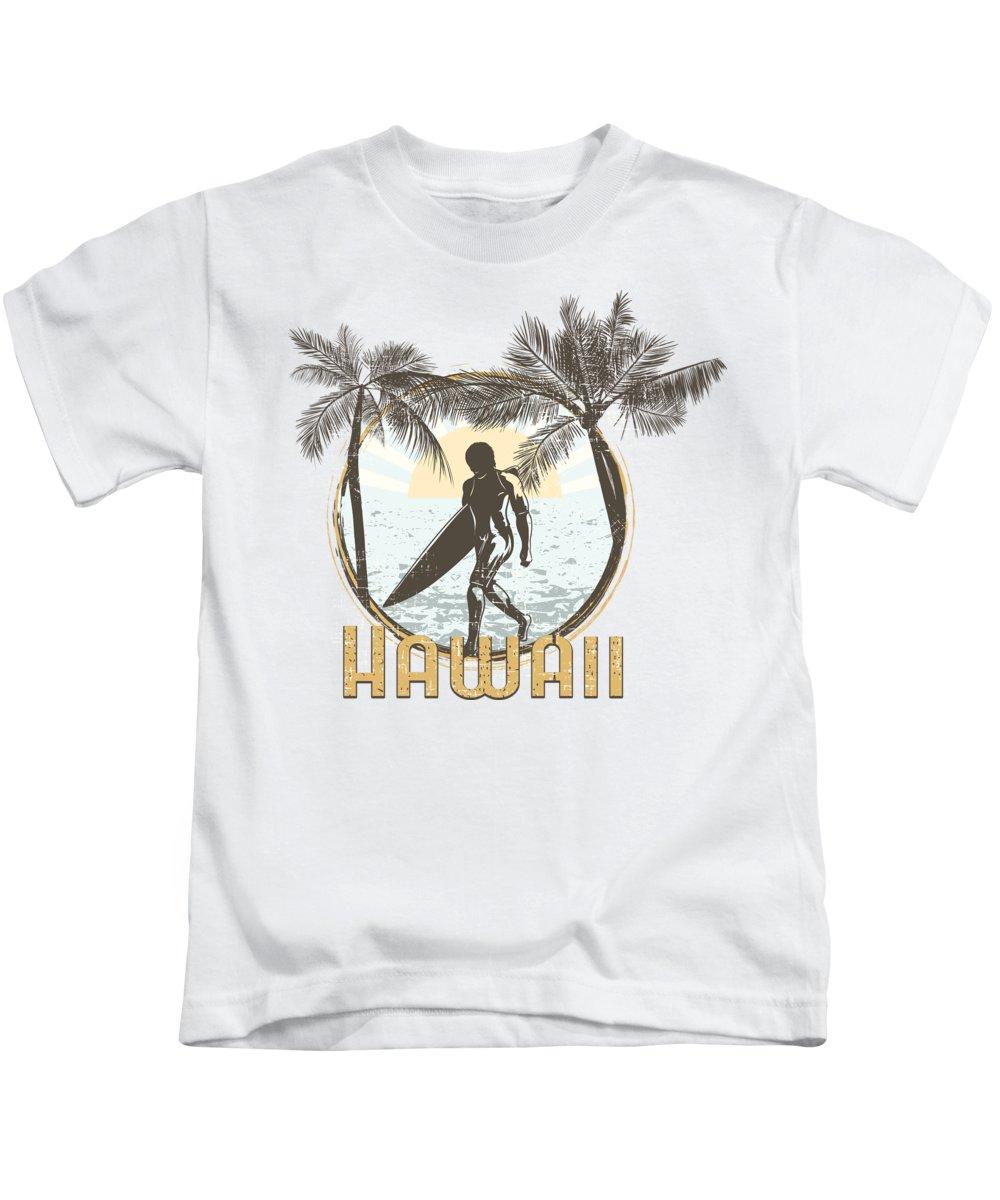 Beach Kids T-Shirt featuring the digital art Hawaii Surfer on Beach by Jacob Zelazny