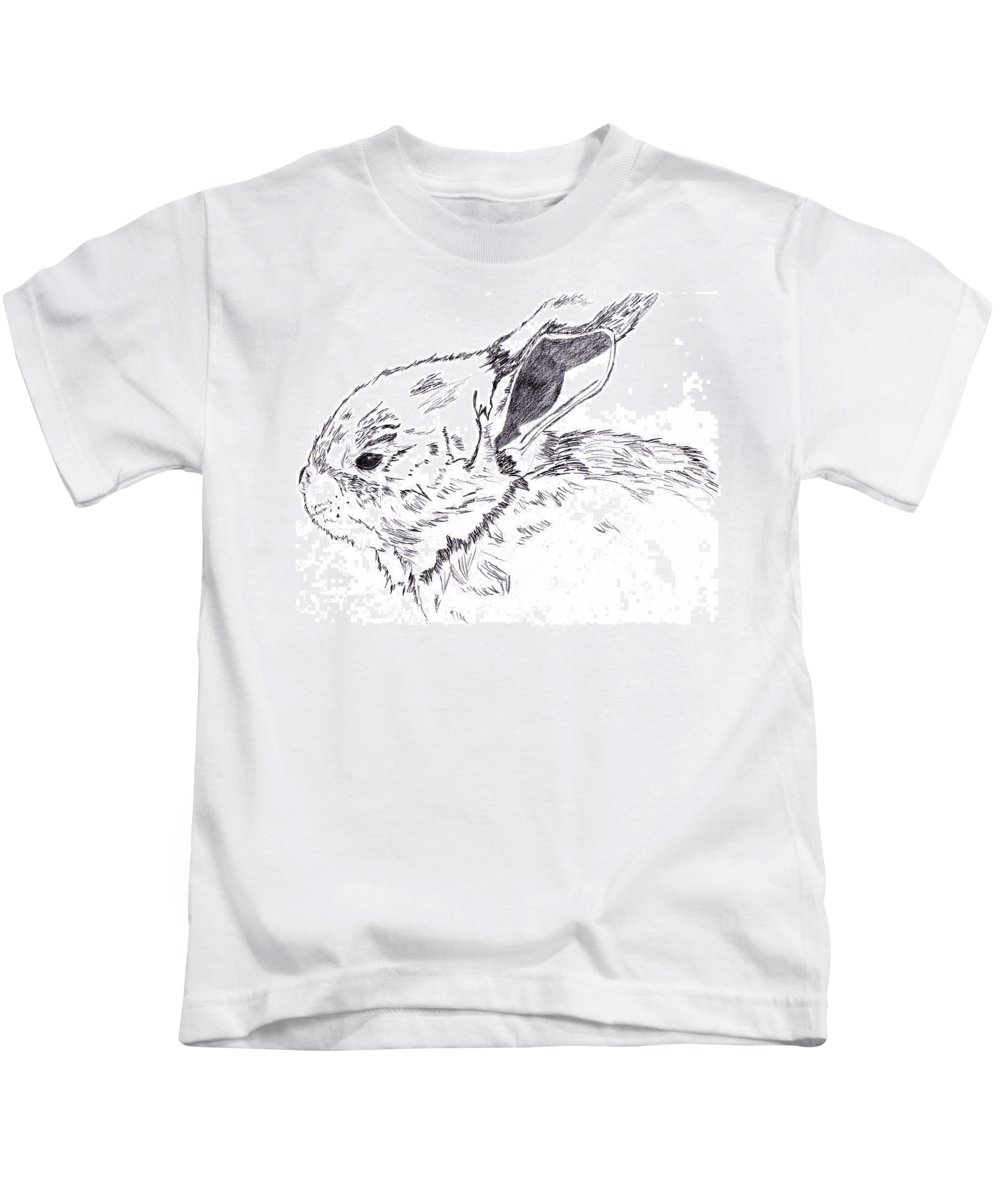 Bunny Kids T-Shirt featuring the drawing It's Peanut the Bunny Time by Crystal Hubbard