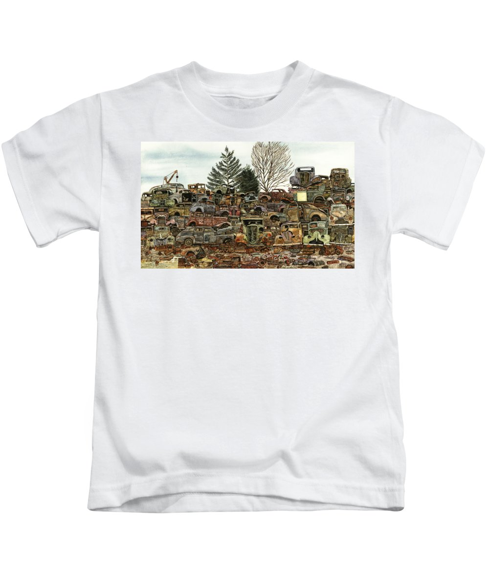 Old Cars Kids T-Shirt featuring the painting Junkyard No.1 by Ron Morrison