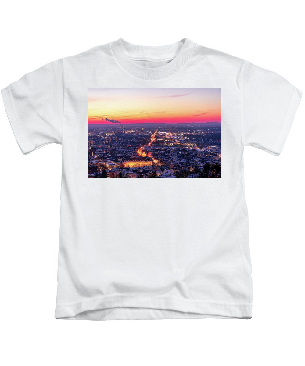 Karlsruhe Kids T-Shirt featuring the photograph Karlsruhe in winter at sunset by Hannes Roeckel